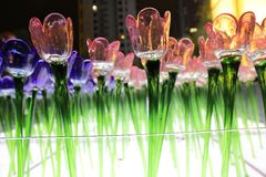 Glassy flower at xmas lighting. The Glassy flower at xmas lighting hk royalty free stock image