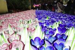 Glassy  flower at xmas lighting Royalty Free Stock Image