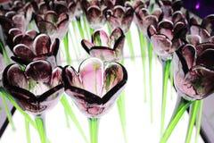 Glassy  flower at xmas lighting Royalty Free Stock Photo