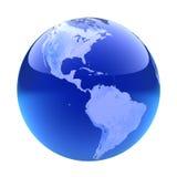 Glassy globe.America. Isolated on white Royalty Free Stock Photo