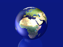 Glassy Globe - Europe, Africa. 3D rendered Illustration Stock Image