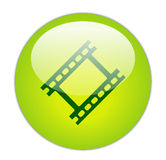 Glassy Green Film Strip Icon. The Glassy Green Film Strip Icon Button Royalty Free Stock Images