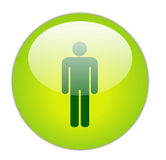 Glassy Green Gents Icon Royalty Free Stock Photos