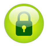 Glassy Green Lock Icon Royalty Free Stock Photography