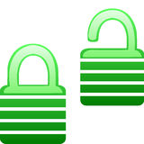 Glassy green lock and unlock icon Royalty Free Stock Image