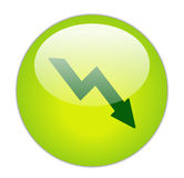 Glassy Green Loss Icon. Button Royalty Free Stock Photography