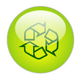 Glassy Green Recycle Outline Icon Stock Images