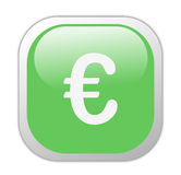 Glassy Green Square Euro Icon Royalty Free Stock Images