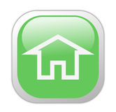 Glassy Green Square Home Icon Royalty Free Stock Images