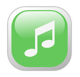 Glassy Green Square Music Icon Royalty Free Stock Photo
