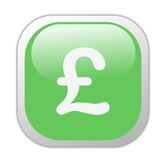 Glassy Green Square Pound Icon Stock Photo
