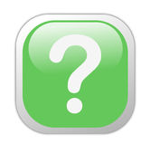 Glassy Green Square Question Mark Icon Stock Photo