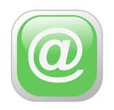 Glassy Green Square At The Rate Icon Stock Photos