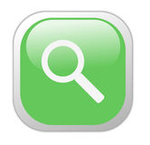 Glassy Green Square Search Icon Stock Photography
