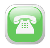 Glassy Green Square Telephone Icon Stock Photos