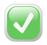 Glassy Green Square Tick Icon Stock Images