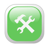 Glassy Green Square Tools Icon Royalty Free Stock Photography