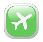 Glassy Green Square Travel Icon Royalty Free Stock Photos