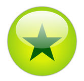 Glassy Green Star Icon Stock Image