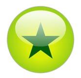 Glassy Green Star Icon Stock Image