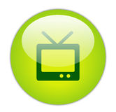 Glassy Green Television Icon Stock Photos