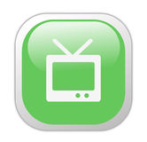 Glassy Green Television Icon Stock Photo