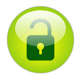 Glassy Green Unlock Icon Royalty Free Stock Images