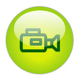Glassy Green Video Camera Icon Stock Image