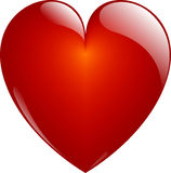 Glassy Heart. Glassy Red Heart Button on White. Isolated with Clipping Path Stock Photos