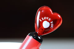 Glassy heart with I Love You note Royalty Free Stock Photography