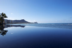 Glassy Infinity Pool at Beach In Hawaii Stock Photos