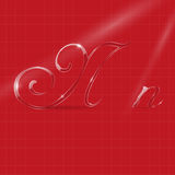Glassy Letters in Italics. Shine Transparent Glass Italic Letters N on the Bright Red Background Stock Image