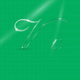 Glassy Letters in Italics. Shine Transparent Glass Italic Letters V on the Light Green Background Royalty Free Stock Photos