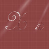 Glassy Letters in Italics. Shining Transparent Glass Italic Letters X on the Brown Background stock illustration