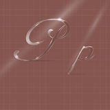 Glassy Letters Writing in Italics. Shine Transparent Glass Italic Letters P on the Color Background Royalty Free Stock Photos