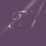 Glassy Letters Writing in Italics. Shine Transparent Glass Italic Letters T on the Violet Background Stock Photo