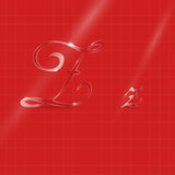 Glassy Letters Writing in Italics. Shine Transparent Glass Italic Letters Z on the Red Background Stock Image