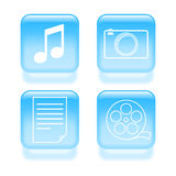 Glassy multimedia icons Royalty Free Stock Images