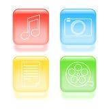 Glassy multimedia icons Royalty Free Stock Image