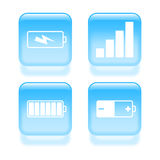 Glassy power icons Stock Image