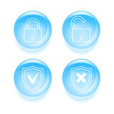 Glassy protection icons Royalty Free Stock Images