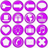 Glassy Purple Website Buttons. 16 high quality glassy purple website buttons for website design or template Royalty Free Stock Photo