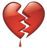 Glassy quebrado coração com gota do sangue Fotografia de Stock