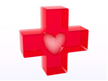 Glassy red cross with heart inside. Glassy red cross with heart shaped cavity inside on white background. Symbol of medicine Royalty Free Stock Photo
