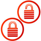 Glassy red lock and unlock icon Stock Photos
