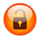 Glassy Red Unlock Icon. Button Royalty Free Stock Images