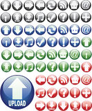 Glassy Round Web Buttons. 64 round glass buttons for web design use Stock Photo