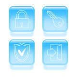 Glassy security icons Royalty Free Stock Photo