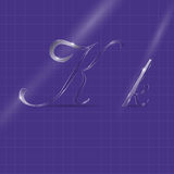 Glassy Semitransparent Italic Letters. Shining Semiransparent Glass Italic Letters K on the Violet Background Royalty Free Stock Photos