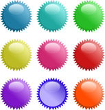Glassy shining 3d sphere icon set. Raster Stock Images